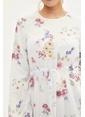 DeFacto Çiçekli Uzun Elbise Beyaz